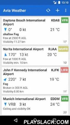 Avia Weather - METAR & TAF  Android App - playslack.com ,  The reliable and straightforward Aviation Weather app for Pilots and aerospace enthusiasts. The METAR-Reader decodes and presents the current METARs of more than 9500 Airports around the globe. Neither more nor less. A simple Color Coding allows a fast classification by VFR or IFR Conditions - as an option even by NATO Color State. Additionally the current TAF weather forecasts are retrieved and displayed clearly in a decoded form.A…