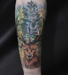 Realistic deer in wood tattoo. Realistic deer in wood tattoo. Pine Tattoo, Deer Tattoo, Cat Tattoo, Tattoo Tree, Trendy Tattoos, Cool Tattoos, Holz Tattoo, Stag Tattoo Design, Giving Tree Tattoos