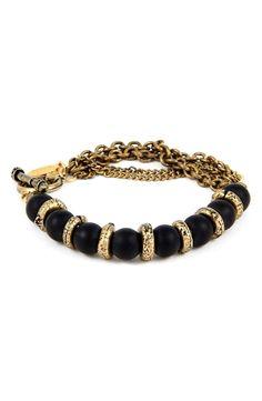 Brass & Onyx Chain Bracelet…