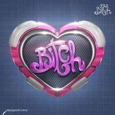 Bitch Logo by Bagstudio  #c4d #3d #render #logo #3drender #digitaldesign3d #digitalart #cinema4d #metallic #heart #love #valentine #bitch #pink #shiny #cute #logodesign #lettering #3dletters #typography #bagstudio #envato