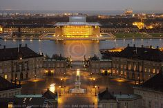 """The Royal Palace """"Amalienborg"""" and The Opera House in the background. Copenhagen, Denmark"""