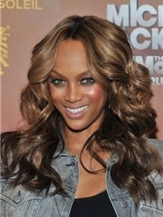 Mixed Color Fashionable Tyra Banks hairstyle Long Curly Lace Wig 100% Real Human Hair About 18 Inches Item # W6366 Original Price: $708.00 Latest Price: $217.09