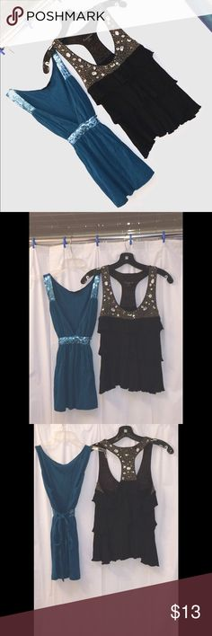2 Gorgeous dressy party tops Twenty One Sz S/P Top 1  Look and feel like a goddess in this Greenish blue baby doll top   Low plunging V neck  glitter detail accentuates the shoulder straps and enhances the appearance of a tiny waist Adjustable tie ties around the waist into a bow  2  Black dressy, yet fun top features diamond like bling detail along the chest and neck line (high quality- you can feel the weight of it) 3 layers of ruffles cascade down the front Racerback also features the…