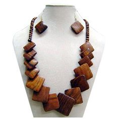 Wooden necklace and earrings