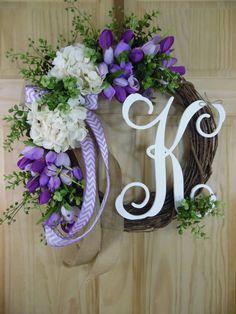 Purple tulip wreath cream hydrangea spring by Celestialwreaths