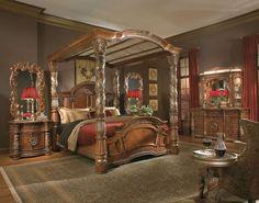 Villa Valencia California King Size Canopy Poster Bed - Victorian ...
