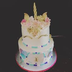 Unicorn themed Happy Birthday Cake