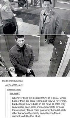 AU where Castiel & Dean are serial killers (Destiel) Supernatural Destiel, Castiel, Supernatural Wallpaper, Supernatural Funny Moments, Supernatural Bloopers, Supernatural Imagines, Dean Winchester, Decimo Doctor, Por Tras Das Cameras
