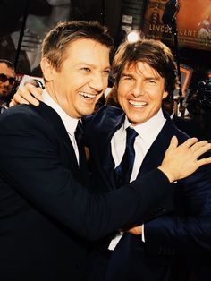 Jeremy Renner and Tom Cruise at the New York City premiere of Mission Impossible: Rouge Nation