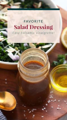 Our favorite salad dressing recipe is a simple vinaigrette made with olive oil, balsamic vinegar, and lemon juice. This salad dressing 5 minutes to whip up and is so flavorful. Caprese Salad Recipe, Salmon Salad Recipes, Chopped Salad Recipes, Spinach Salad Recipes, Greek Salad Recipes, Healthy Salad Recipes, Best Salad Dressing, Salad Dressing Recipes, Salad Dressings