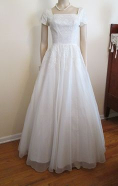 Wedding Dress Vintage 1960's White Lace Full-Length Bridal Gown...would want to change the square neckline though