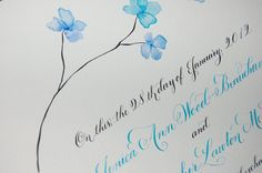Hand Lettered Quaker Marriage Certificate - Featuring Hand Calligraphy, Watercolor leaves or flowers deposit. $25.00, via Etsy.