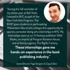"""These internships gave me hands-on experience in the book publishing industry."" Read interviews with English majors on DearEnglishMajor.com."