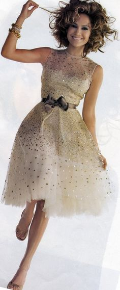 Muted tone sparkly cocktail dress.