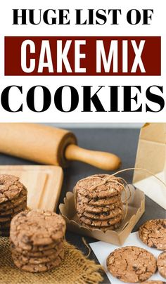 Over 50 Cake Mix Cookie Recipes! There are over 50 cookie recipes made from boxed cake mix here to choose from, which means that you can make a new batch of cookies everyday for almost two months! (Not saying you should do that, but you totally could. Cake Box Cookies, Chocolate Cake Mix Cookies, Box Cake Mix, Yummy Cookies, Cookies Et Biscuits, Dessert Chocolate, Boxed Cake Mixes, Chocolate Oatmeal, Sandwich Cookies