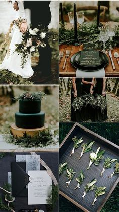 Black Gold Wedding olive and black winter woodsy wedding color ideas - When it comes to the wedding planning part, the first thing couples have to decide is the wedding colors, which helps create an atmosphere and. Wedding Aisles, Woodsy Wedding, Dream Wedding, Wedding Day, Wedding Receptions, Spring Wedding, Wedding Centerpieces, Elegant Wedding, Wedding Favors