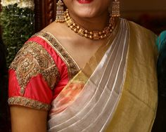 Saree blouse design - gold embroidery upside down... From shoulders downwards...