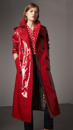 Raglan-sleeve Patent Lambskin Trench Coat in Parade Red - Women 32af57de36819
