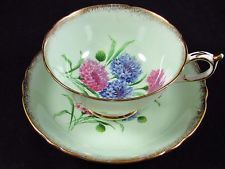 PARAGON PASTEL FLORAL GREEN SPONGED GOLD TEA CUP AND SAUCER