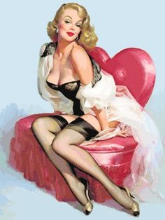 Vintage Pin Up Girl on Heart Chair Counted Cross by wickedlady, $6.00