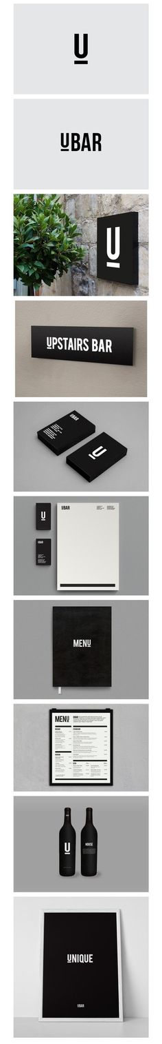 UBAR, branding, typography, monochrome, icon, U, brand, black and white, upstairs bar, stationary, menu, wine, modern, minimal: