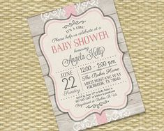 Baby Girl Shower Invitation - Rustic Wood Vintage Lace Kelly Baby Girl2 - Bridal Shower, Birthday - Any Event - Any Color Scheme - Printable