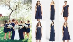 mismatched bridesmaid dresses | mismatched-navy-bridesmaid-dresses