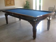 Riley 8ft antique snooker dining table,blue cloth. | Browns Antiques Billiards and Interiors.