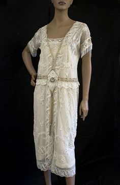 1920s clothing at Vintage Textile: #2217 lace tea dress