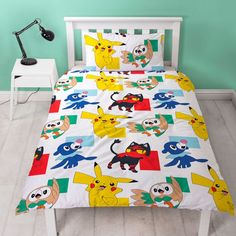 Pokémon fans will love this fun Pokemon Kids Duvet Single Cover Set. The duvet cover features great images of Pikachu, Rowlet, Litten and Popplio. Kids Bedding Sets, Duvet Sets, Single Duvet Cover, Duvet Cover Sizes, Quilt Bedding, Quilt Cover, Bed Covers, Background Patterns, Pillow Cases