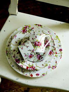 Cath Kidston Blossom Sprig china from 2006 - dinner plate, salad plate, rimmed soup bowl, teacup & saucer, mug