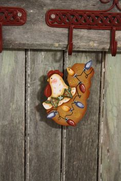 Funky Christmas Chickens Roosters Hens Ornaments with Scroll Hanger Bird Christmas Ornaments, Snowman Ornaments, Christmas Cats, Chickens And Roosters, Red Hats, Hens, One Color, Art For Sale, I Am Awesome
