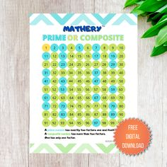 Enjoy this FREE prime or composite worksheet! Quickly and visually review prime and composite numbers up to 100. www.wellsianco.com #wellsian #freeprintable #freebie #mathery #multiplication #multiplicationfacts #gameschool #homeschool Maths Resources, Fun Math Activities, Prime And Composite Numbers, Multiplication Facts, Educational Games, Worksheets, Free Printables, Homeschool, Composition