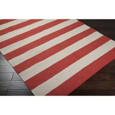 Rugby Stripe Flat Weave Area Rug  For the den