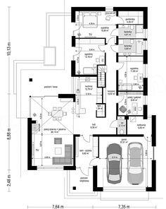 Projekt domu Uroczy 146,47 m2 - koszt budowy 254 tys. zł - EXTRADOM Free House Plans, House Layout Plans, House Layouts, Beautiful Small Homes, Small Modern Home, Home Building Design, Building A House, Model House Plan, Simple House Design