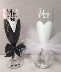 Wedding Toasting Glasses for the Bride and Groom by MakeItFierce