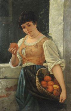 """Pio JORIS (1843-1921) """"Jeune femme au panier de pommes"""" (""""La contadina con cesto di mela"""") Huile sur toile signée en bas à gauche 106 x 68 cm"""