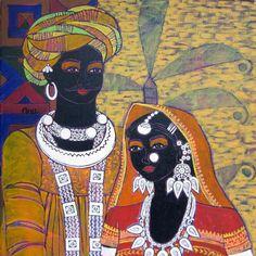 Anuradha Thakur : Figurative Acrylic Painting on Canvas - 20 x 20 inch