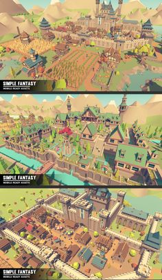 Simple Fantasy - Cartoon Assets A massive asset pack of Fantasy Environments, Vehicles, Characters, Props, Items, Weapons and Animations Includes demo scene. **Looks great in VR and on mobile**- 22 Human/Knight Characters - 6 Goblin Characters - 5 Elf Characters - 6 Undead Characters - 161 Building assets - 13 Vehicle assets - 228 Environment assets - 131 Prop assets - 178 Weapon assets - 4 Animals assets