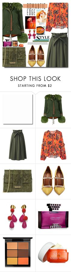 """""""Bez naslova #1132"""" by wuteringheights ❤ liked on Polyvore featuring Alessandra Chamonix, Uniqlo, MANGO, Tuscany Leather, Malone Souliers, Lizzie Fortunato, Judith Leiber, MAC Cosmetics and Sunday Riley"""