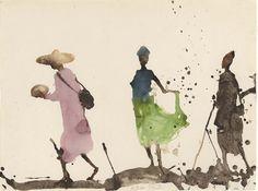 Miquel Barceló (Spain b.1957) Marché de Sangha, la Jupe Verte (2000)watercolour and sand on paper 58 x 77 cm
