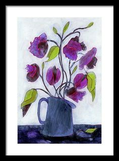 Floral Framed Print featuring the painting Tin Pitcher by Tonya Doughty