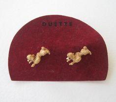 Vintage 50s Mid Century Retro Duette Goldtone Ruby Red Rhinestone Dog Poodle Scatter Pins Brooch Set by ThePaisleyUnicorn, $12.00