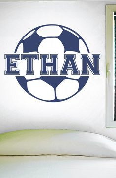 """Custom Soccer Name Wall Decal - 0122 -- PRODUCT NO. 0122 -- -- When checking out, please type the name you want for your decal in the """"Phone optional"""" tab when you fill out your contact information. I"""