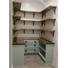 """Dream pantry is complete! Walls shiplap and painted White Dove. Cabniets are Benjamin Antique Jade and hardware is from…"" ""Dream pantry is complete! Walls shiplap and painted White Dove. Cabniets are Benjamin Antique Jade and hardware is from…"" House Design, House, Interior, Pantry Layout, Home, Home Remodeling, New Homes, Home Kitchens, Pantry Design"