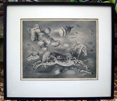 1945 AARON BOHROD surreal TROMPE  L'OEIL toys AAA horse TEDDY BEAR lithograph #TEDDYBEAR #Surrealism