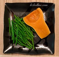 Roasted delicata  squash with a side of steamed string green beans.