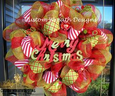 Merry Christmas Deco Mesh Wreath. $75.00, via Etsy.