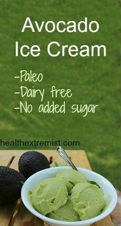 This super delicious avocado ice cream recipe is dairy-free, paleo, and has no added sugar! It's a healthy and yummy dessert rich in vitamins and minerals. dessert Avocado Ice Cream Recipe - Dairy free, gluten free and paleo Paleo Dessert, Avocado Dessert, Delicious Desserts, Avocado Popsicles, Avocado Brownies, Dairy Free Ice Cream, Vegan Ice Cream, Avacado Ice Cream, No Sugar Ice Cream