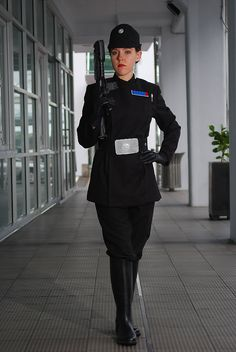 Imperial Officer 4 by Bria-Silivren  (Mandarin collar dress, wide belt, black gloves, duct tape pin; buy hat and weapon)